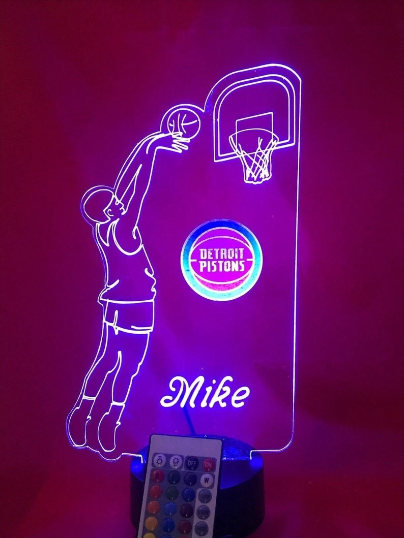 Detroit Pistons LED Personalized Basketball Player Light Up 3D Night Illusion LED Hand Made by Mirror Mania Free Ship Remote Table Lamp