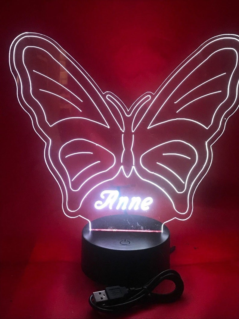 Butterfly Lamp LED Light Up Night Light With Remote and Personalized Free Engraved Butterfly Table Lamp with 16 Color Options and Dimmer