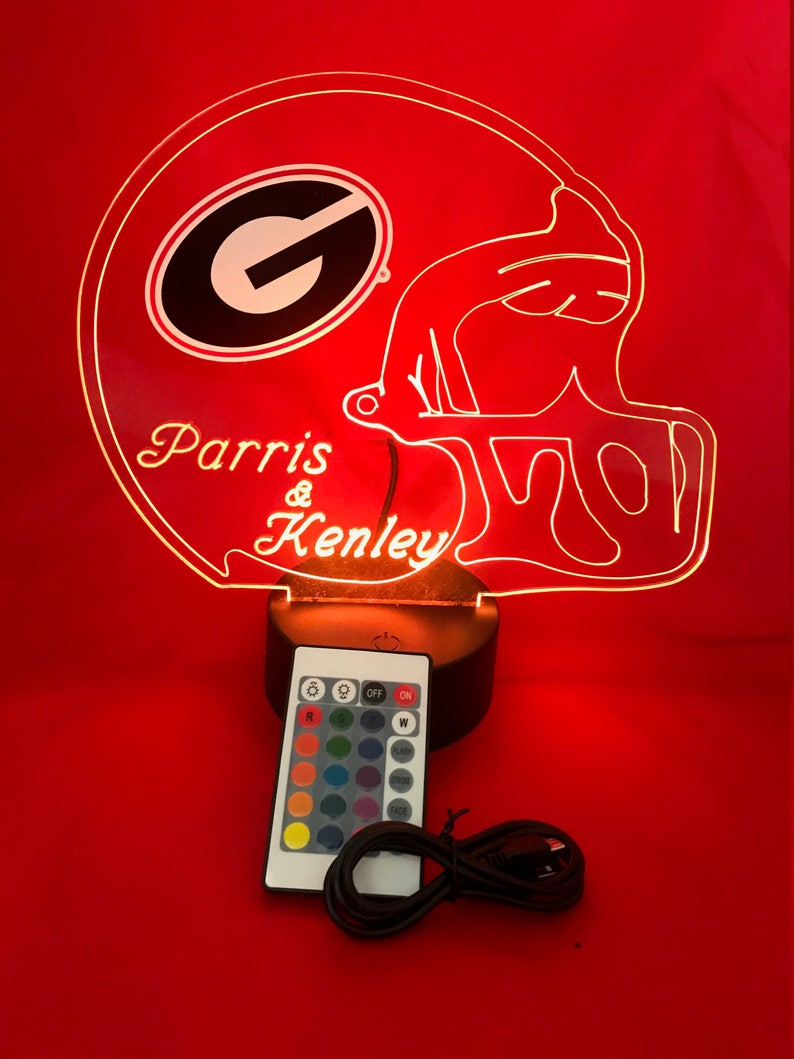 16 Colors University of Georgia Bulldogs NCAA Light Up Lamp LED Personalized Free Engraved College Bulldogs Football Table Lamp With Remote
