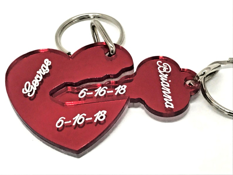 a76e87a1f0 Key To My Heart Key Chain Personalized Couple Keychain Heart | Etsy