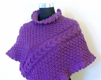 Purple wool coat, Hand knit cape, Short Winter Cloak, Cable Knit Coat