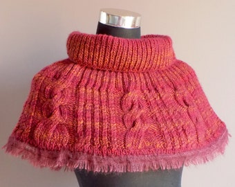 Red Short Cape, Cable Knit Wool Capelet