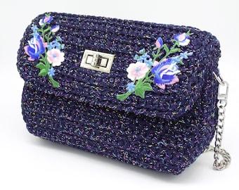 Crochet Luxury Shoulder Bag, Handcrafted Designer Crossbody Clutch, Everyday Trendy Handbag, Small Blue Bag