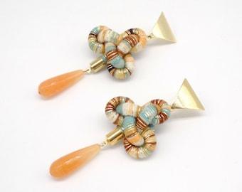 Triangle Earrings Dangle, Trinity knot Earrings, Long Statement Earrings Handmade, Special Gift for her