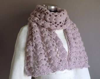 Scarf women knit lavender, Wool Scarf, Knitted Scarf