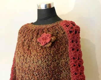 Burgundy Crochet Cape Coat, Wool Cloak, Handmade coat, Hand knit Poncho, Brown Winter Coat, Women Cape Coat,  Earth Tones