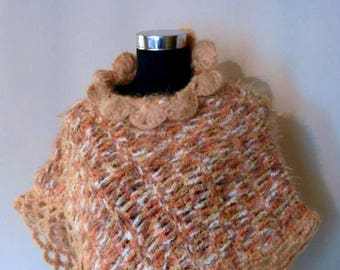 Yellow Cape Coat, Warm Wool Poncho, Crochet Poncho, Boho Poncho, Soft Poncho with flower collar