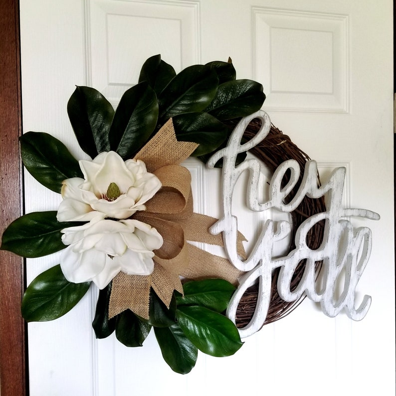 Magnolia Wreath Magnolia Leaf Wreath Front Door Wreath Year Etsy