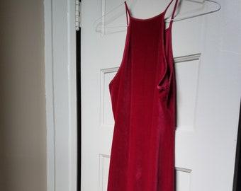 Vintage Deep Red Velvet Halter Maxi Dress