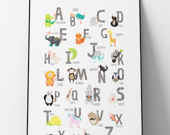 A2 Kids Alphabet - animals - educational - poster - illustration