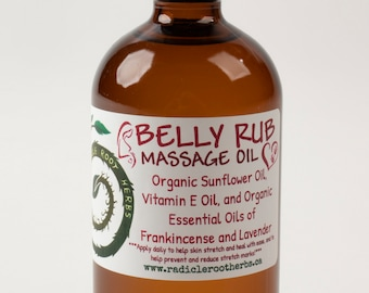Organic Belly Rub, Pregnant Belly Oil, Stretch Mark Oil, Expecting Parent Massage, Massage Oil