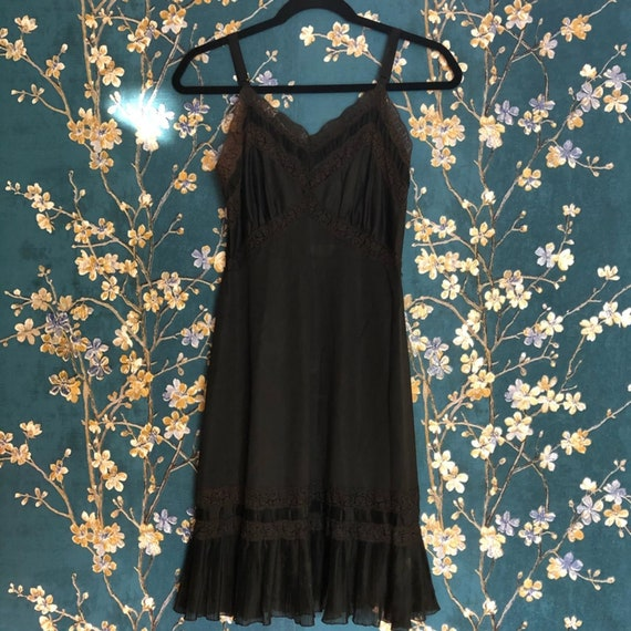 VINTAGE Black Ruffle Glamour Slip Dress