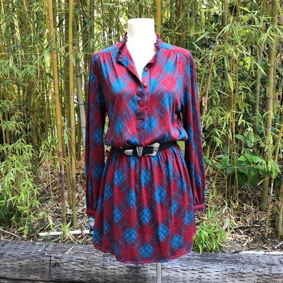 VINTAGE Plaid Dress S