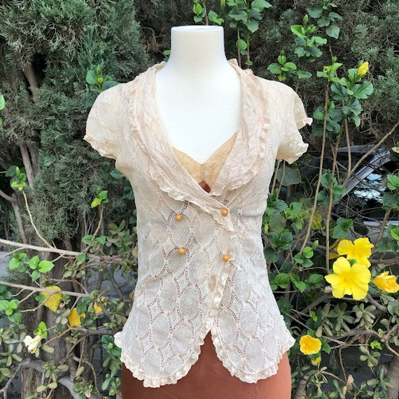 VINTAGE Victorian Lace Bed Jacket Blouse Top