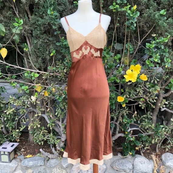VINTAGE Copper Silky Slip Dress Grunge Babydoll