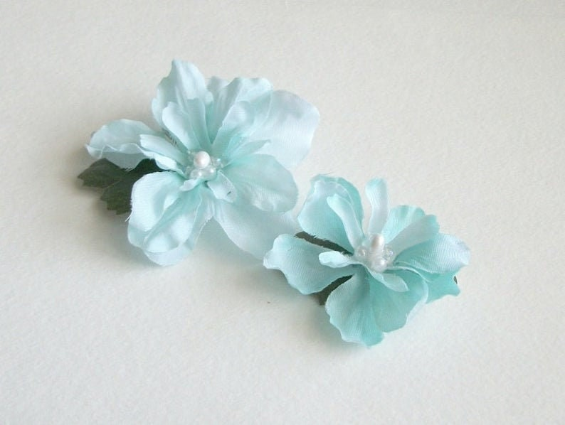 Light Blue Flower Hair Clips Blue Light Blue Natural Flower Hair Clips Rustic Wedding Accessories Bridal Party Wedding Set Of Two Clips