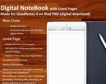 Digital NOTEBOOK for GoodNotes: with simple and clean  Lined Pages (Blue Cover)