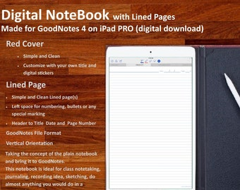 Digital NOTEBOOK for GoodNotes: with simple and clean  Lined Pages (Red Cover)