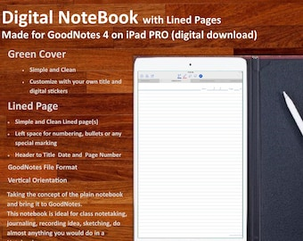 Digital NOTEBOOK for GoodNotes: with simple and clean  Lined Pages (Green Cover)