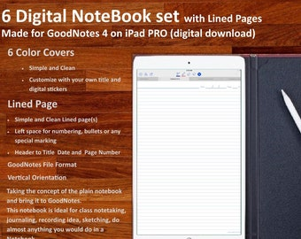 Set of Six Digital NOTEBOOK set for GoodNotes: with simple and clean  Lined Pages (6 Different Covers)