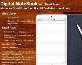 Digital NOTEBOOK for GoodNotes: with simple and clean  Lined Pages (Grey Cover)