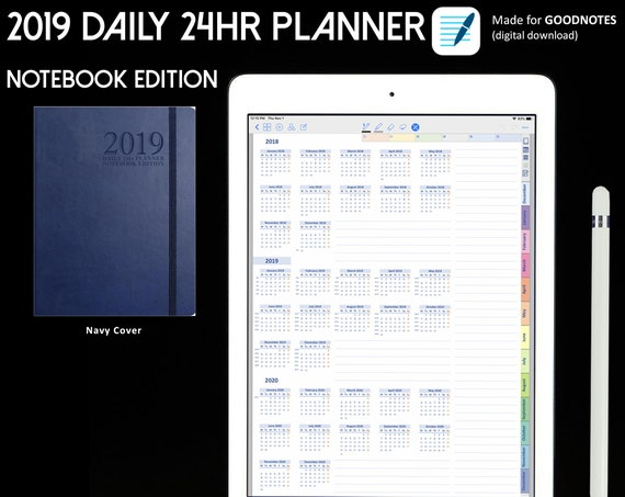 daily 24hr planner notebook edition navy cover goodnotes