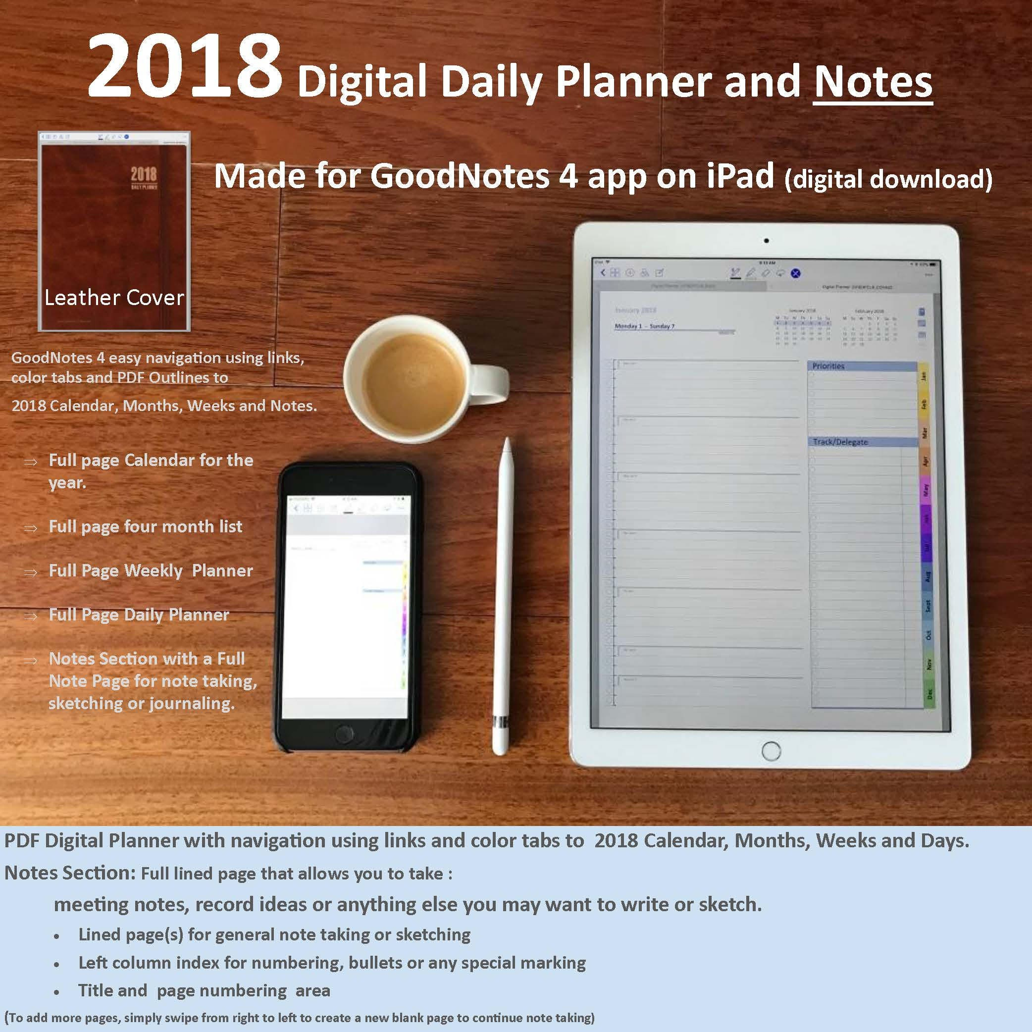 2018 Digital Planner and Journal for GoodNotes 4 app on iPad:   Etsy