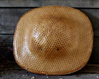 722c9592 Antique asian hat early 30's. Chinese hat. Woven bamboo hat. Colonial hat.  French milliner. French chapelier. Sombrero hat. Hacienda decor.