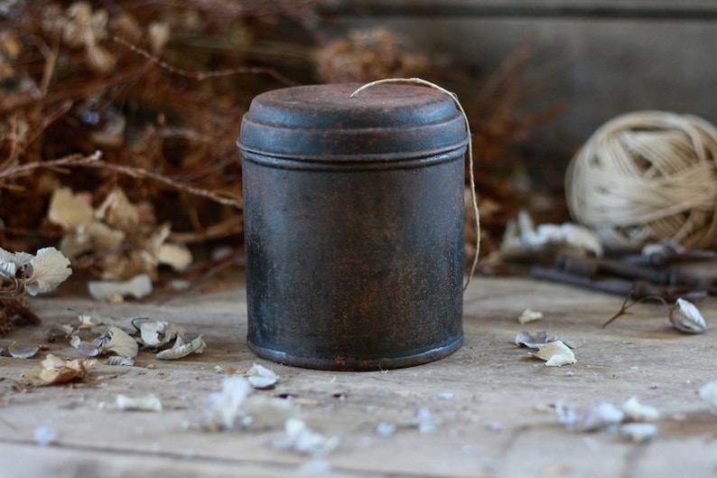 French garden box French antique dispenser metal box Dispenser string Antique rusty box Vintage tin box linen bobbin Linen dispenser