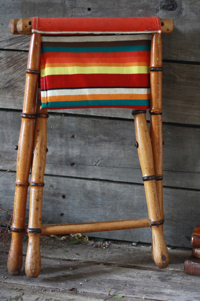 French fishing stool French seat folding Picnic seat French folding stool Folding fishing Footstool Antique folding seat fisherman
