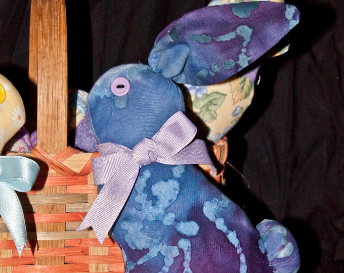 Quilted, Stuffed Bunny - Blue