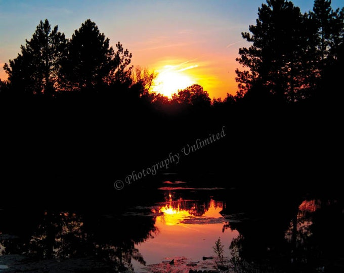 Summer Sunset over pond