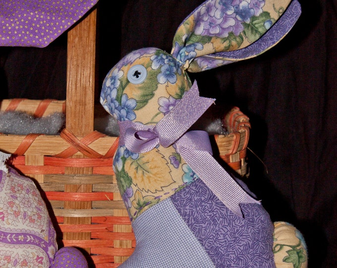 Quilted, Stuffed Bunny - Purple Flower Pattern