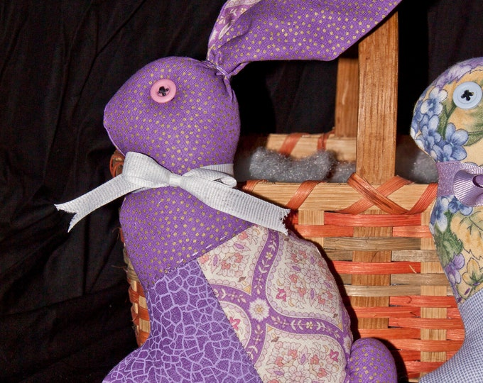 Quilted, Stuffed Bunny - Purple