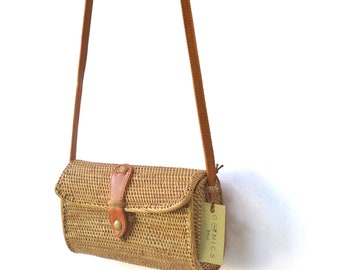 5c71902d85fb Rattan Round Bali Bag Women Handwoven Bag Vintage Purse Bohemian Bag Wicker  Purse Crossbody Leather Bag (Tabanan Bag)