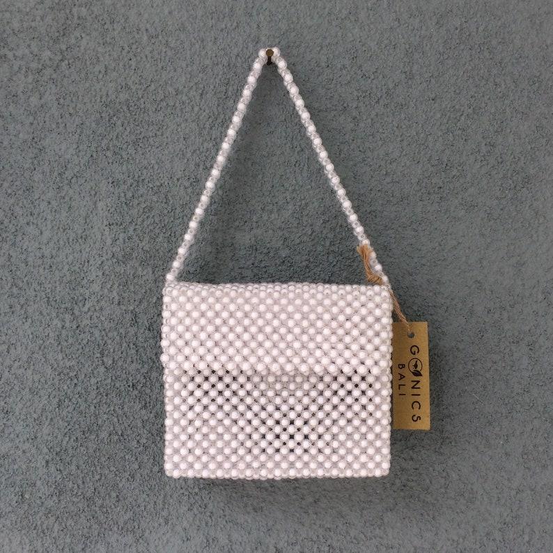 Clear Beaded Bag Vintage Beads Bag Wooden Bag Beaded Bag Pearl Bag Top Handle Bag Macrame Bag Vintage Bag Bohemian Bag Boho Bag Mango Bag