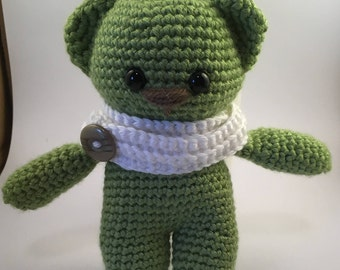 Green Bear, stuffed animal, amigurumi, crochet bear