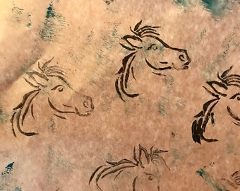 Horse Stamped Wrapping Paper Sheets