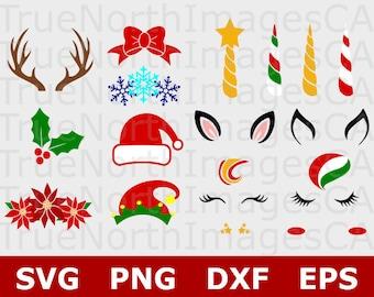 Christmas Unicorn SVG / Christmas SVG Bundle / Unicorn SVG / Unicorn Head Svg / Unicorn Face Svg / Unicorn Cut File . Svg Files for Cricut
