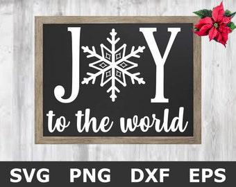 Joy To The World SVG / Christmas SVG / Christmas Sign SVG / Christmas Chalkboard Svg / Snowflake Svg / Farmhouse Christmas / Cricut Files