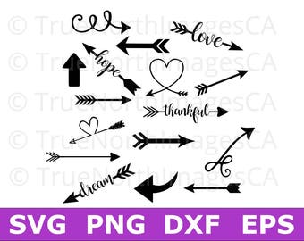 Arrow SVG / Arrows SVG / Arrows Clipart / Arrow Clipart / Heart Arrow Svg / Tribal Arrow Svg / svg files for Cricut / Silhouette Files