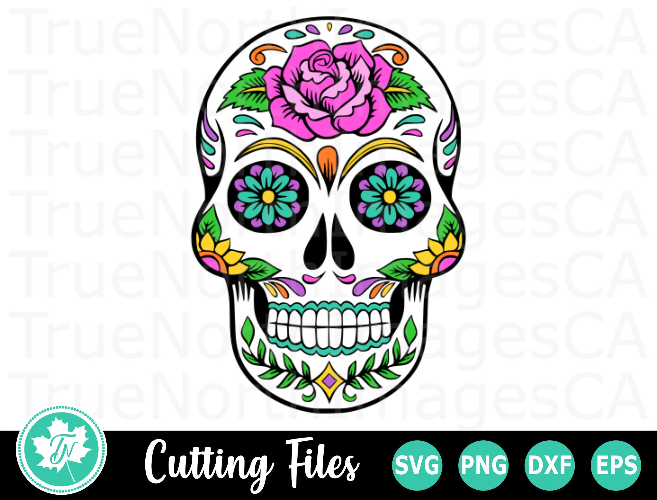 Sugar Skull Svg Skull Svg Sugar Skull Clipart Day Of The Etsy