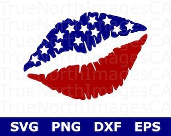 American Flag SVG / Lips SVG / 4th of July SVG / Patriotic svg / United States svg / svg American Girl / svg Files for Cricut