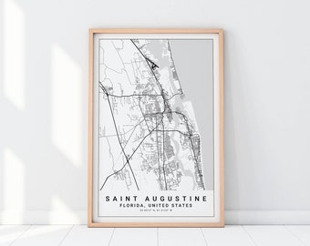 St Augustine Florida Map.St Augustine Etsy