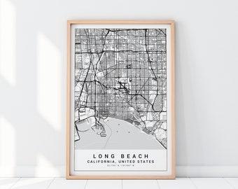 Long beach map | Etsy