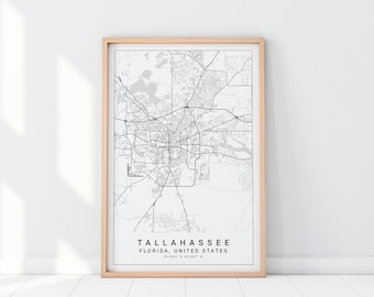 Map Of Tallahassee Florida.Tallahassee Map Etsy