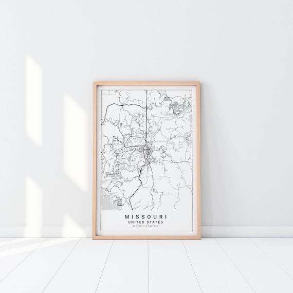 Missouri Map Missouri Map Print Jefferson City Map Print   Etsy