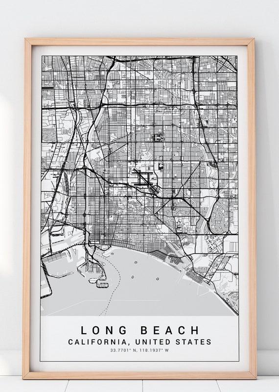 Long Beach Map Print, Long Beach Poster, Long Beach California Map, Long  Beach Map Print, Long Beach Map Poster, Holidays Gift