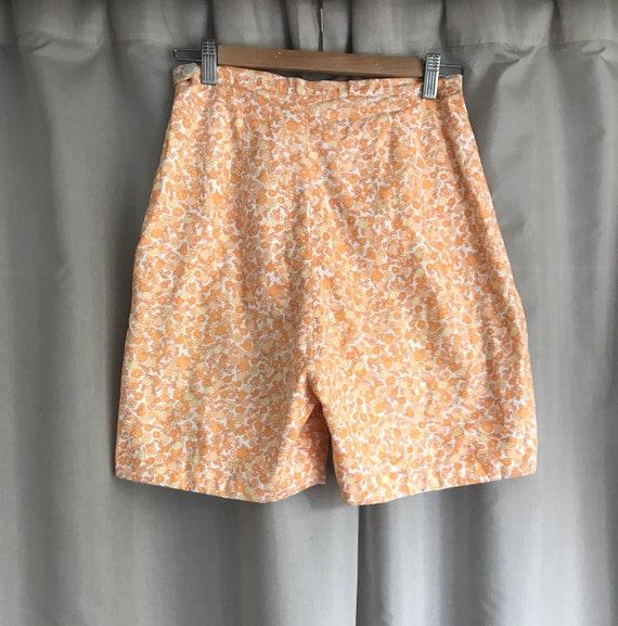 Flower print 60's cotton  shorts