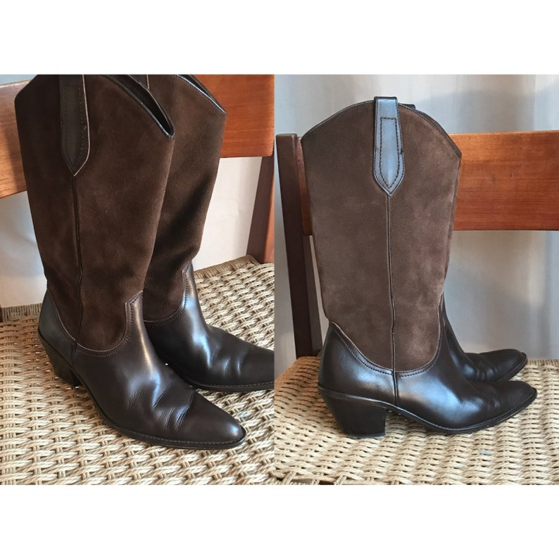 d7098ab85e9 Massimo Dutti brown suede and leather cowboy boots